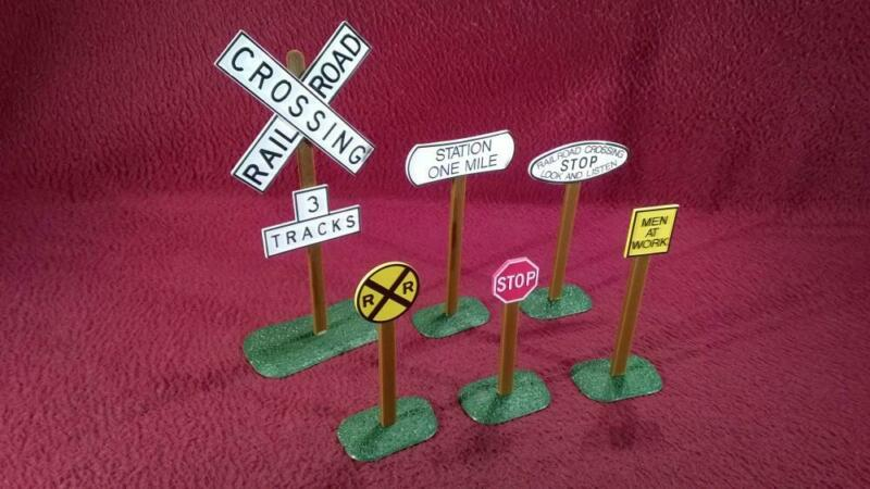 #1 G-SCALE DETAIL FOR LGB - 6 ROAD & TRACK CROSSING SIGNS - STOP MEN AT WORK