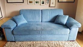 Elegant blue fabric 2.5 seater sofa bed