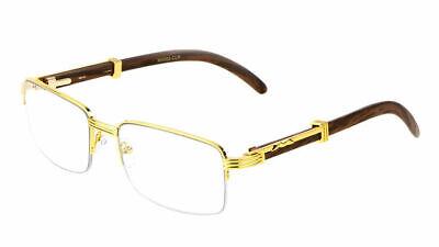 Mens Classy Elegant Square Style Clear Lens Eye Glasses Gold Wood Rimless Frame Rimless Mens Lens