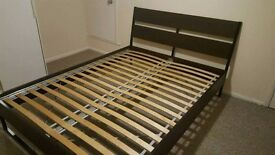 Double bed frame dark brown