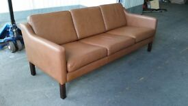 Danish brown leather sofa, 1960's