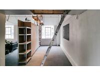 Mezzanine double bedroom with live/work space in creative warehouse loft unit, E2, All bills inc