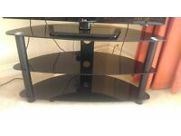 Three Tier Black Glass TV Table like new