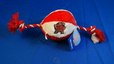 University Maryland Terrapins Soft Plush Basketball Squeaky Rope Dog Chew Toy