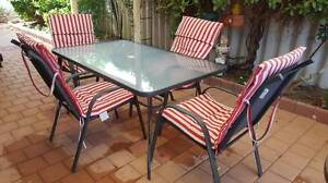 OUTDOOR GLASS TABLE + 4 HIGH BACK CHAIRS + 4 FULL CUSHIONS Kinross Joondalup Area Preview
