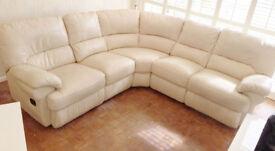 White Reclining Leather Corner Sofa