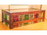 SOLID WOOD SMOKEY MIRRORED SHABBY CHIC STAINED REGGAE COFFEE TABLE HAND STAINED AND HEAVY LOOKS USED