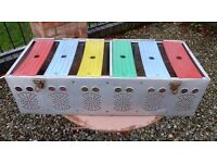 Funky 1970's Retro Aluminium Homing PIGEON Carrying BASKET with Multi-Colour Compartments