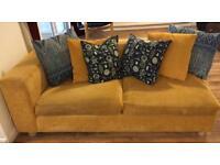 Yellow, chenille sofa