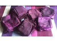 Wedding Table Cloths, Wedding Chair Sash/Bows Table Runners purple Material