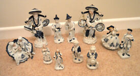 Set of vintage antique porcelain blue and white figures chinese fish seller period dress