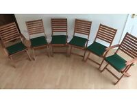 6 New Rowlinson 'Bali' folding hardwood garden chairs with weatherproof cushions, perfect!