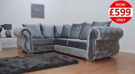 BRAND NEW WINDSOR CORNER + CUDDLE CHAIRS IN SILVER CRUSHED VELVET