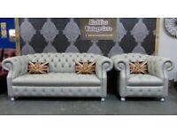New Chesterfield Suite 3 Seater Sofa & Club Chair in Grey Leather - UK Delivery