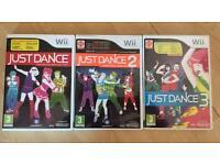 3 Wii Games - Just Dance, Just Dance 2 & Just Dance 3.