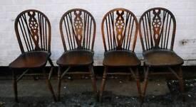 4 Oak Wheeled Back Chairs