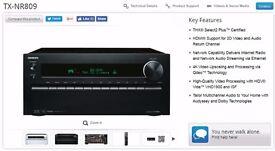Onkyo TX-NR809 7.2 Channel 180 Watt AV Network Receiver 3D Spotify Connect