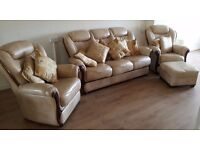 Beautiful Beige Leather Suite- Like New