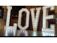 Photo booth, candy cart, led letters