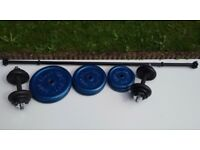 "62 kg of 1"" hole weight plates (Body Sculpture & York) Spinlock Barbell & Dumbbells"