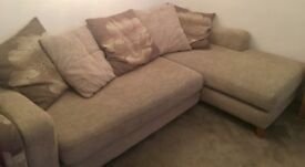 DFS Corner Sofa with Matching Arm Chair and Foot Stool