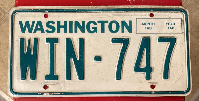 1983-1986 Washington Passenger Vehicle License Plate, YOM Legal, WIN 747 Boeing