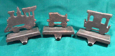 Set 3 Black Metal Christmas Mantel Stocking Hook Holder Train Engine car caboose
