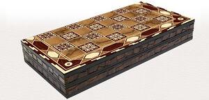LUXUS BACKGAMMON TAVLA Tavli  Intarsien Look XXL 50 * 50 cm mit SPIELSTEINE
