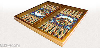 KHATAM BACKGAMMON SET Persian EXCLUSIVE Design Wooden Board 14.17""