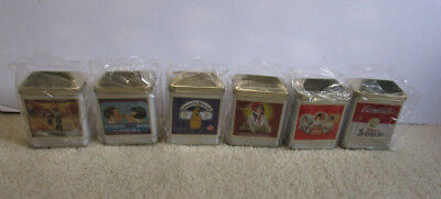 Lot 6 Vintage Collector's Container Tin Cans With Lids Hershey Nestle etc - New
