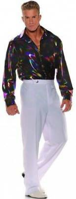 1970S 70S DISCO SHIRT COSTUME DANCE SATURDAY NIGHT FEVER PIMP SHINY BLACK SWIRL - Saturday Night Fever Costume