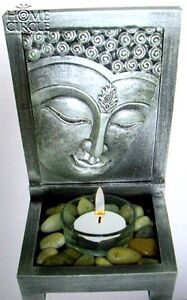 SILVER-BUDDHA-FACE-TEALIGHT-CANDLE-HOLDER-SET-DECO-WITH-TEALIGHT-CANDLE-STONES