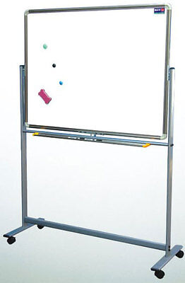 Reversible Roll Around Standing Magnetic Dry Erase Board W Pens Eraser 36 X 48