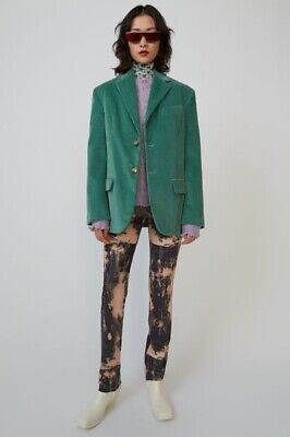 Acne Studios Green Cord Oversized Blazer Jacket Boyfriend 38 UK 12