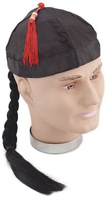 CHINESE HAT WITH PIGTAIL (CULTURES FANCY DRESS HATS) - Chinese Hat With Pigtail