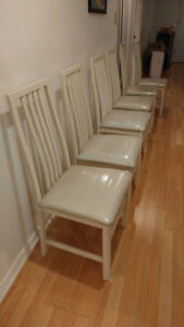 6 Upholstered White Chairs