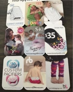 Baby item gift cards