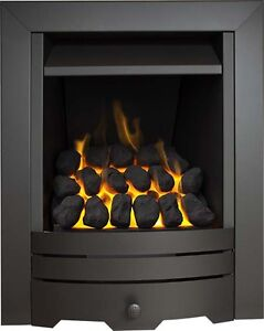 4kw BLACK INSET GAS FIRE FULL DEPTH COAL FIREPLACE GAS FIRE LIVING FLAME HOT