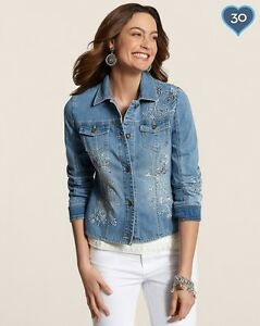 Chico's Embroided Denim Jacket light indigo   sz 4 18 20 XL XXL  $149