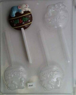 Teddy Bear on Christmas Bulb lollipop chocolate fondant candy mold