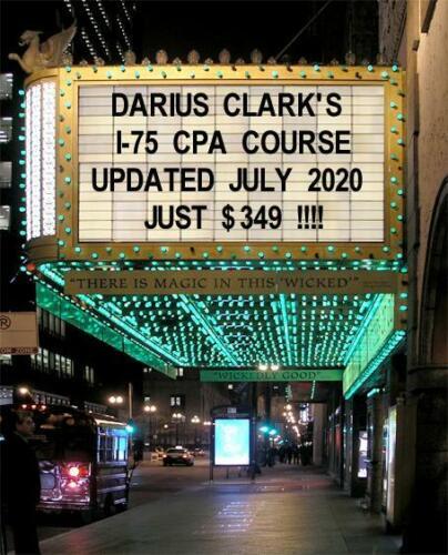 2020 CPA Exam Review Courses-Darius Clark-i-75 FAR, REG, BEC, Audit- 12 Months!