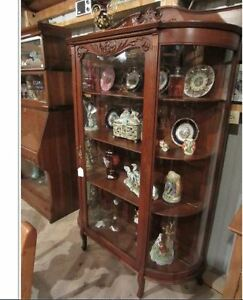 Antique |~| Curved Glass display China Cabinet