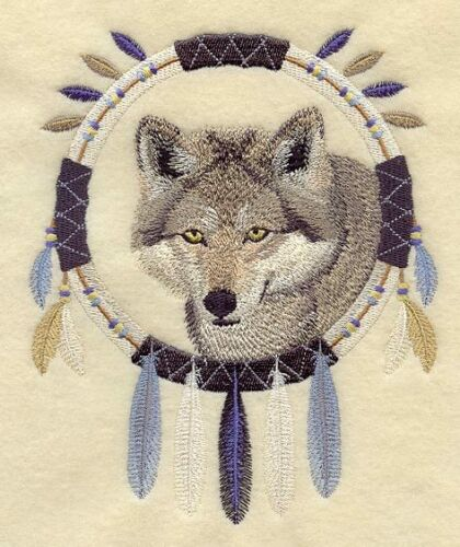 Embroidered Sweatshirt - Wolf Dream Catcher A4821