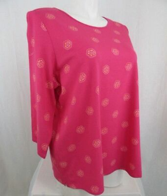 Denim & Co. Size 2X Pink All over Medallion Print Round Neck Top Medallion Print Top