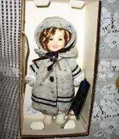 "8"" VINYL 1982 SHIRLEY TEMPLE DOLL AS DIMPLES,COAT,BONNET,NIB"