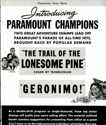TRAIL OF THE LONESOME PINE, GERONIMO pressbook, Sylvia Sidney --PLUS POSTER--