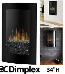 NEW DIMPLEX CURVED ELECTRIC WALL MOUNTED FIREPLACE WITH PEBBLE