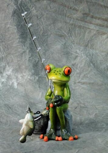 FISHING FROG - STATUE -  FIGURINE