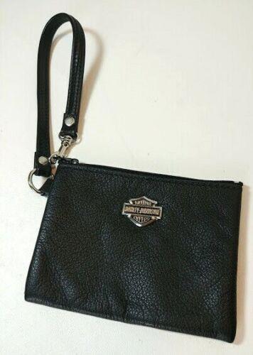 Harley Davidson Womens Black Leather Coin Purse Wallet Wristlet