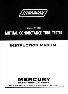 Mercury 2000 Mutual Conductance Tube Tester Manual